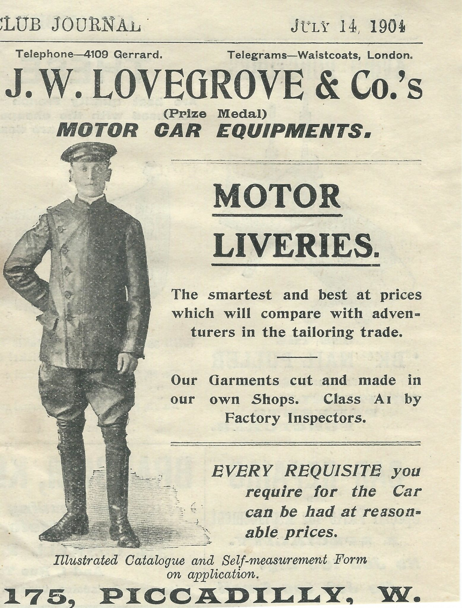 J W Lovegrove Motor Car Equipments