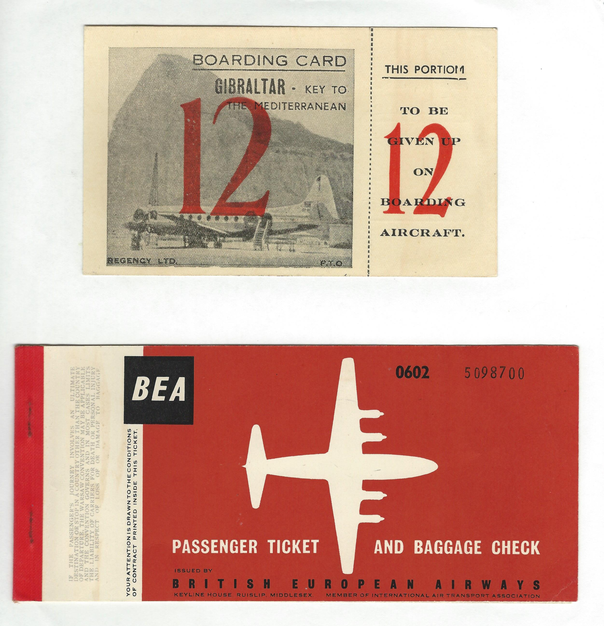 BEA British European Airways passenger ticket and boarding pass